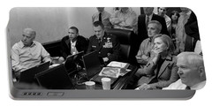 Obama In White House Situation Room Portable Battery Charger by War Is Hell Store