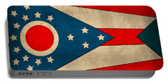 Ohio State Flag Art On Worn Canvas Portable Battery Charger by Design Turnpike