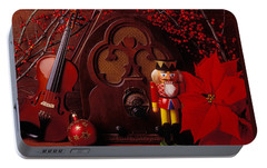 Old Raido And Christmas Nutcracker Portable Battery Charger by Garry Gay