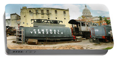 Old Trains Being Restored, Havana, Cuba Portable Battery Charger by Panoramic Images