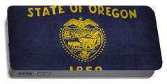 Oregon State Flag Art On Worn Canvas Portable Battery Charger by Design Turnpike