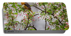 Oriole In Crabapple Tree Square Portable Battery Charger by Bill Wakeley