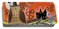 Owl With Hat Portable Battery Charger by Anne Tavoletti