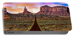Painting Monument Valley At Sunset Portable Battery Charger by Bob and Nadine Johnston