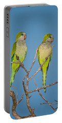 Pair Of Monk Parakeets Myiopsitta Portable Battery Charger by Panoramic Images