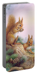 Pair Of Red Squirrels On A Scottish Pine Portable Battery Charger by Carl Donner