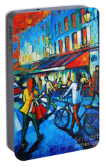 Parisian Cafe Portable Battery Charger by Mona Edulesco