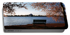 Park Bench With A Memorial Portable Battery Charger by Panoramic Images