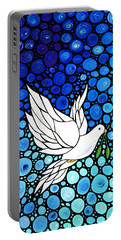 Peaceful Journey - White Dove Peace Art Portable Battery Charger by Sharon Cummings