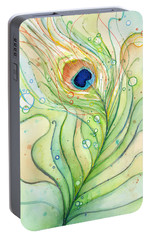 Peacock Feather Watercolor Portable Battery Charger by Olga Shvartsur