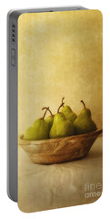 Pears In A Wooden Bowl Portable Battery Charger by Priska Wettstein