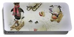 Penguins Sledging Portable Battery Charger by Kestutis Kasparavicius