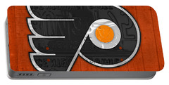 Philadelphia Flyers Hockey Team Retro Logo Vintage Recycled Pennsylvania License Plate Art Portable Battery Charger by Design Turnpike