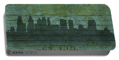 Philadelphia Pennsylvania Skyline Art On Distressed Wood Boards Portable Battery Charger by Design Turnpike