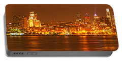 Philly Skyline Panorama Portable Battery Charger by Adam Jewell