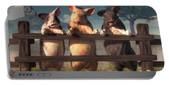 Pigs On A Fence Portable Battery Charger by Daniel Eskridge