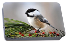 Pine Chickadee Portable Battery Charger by Christina Rollo