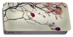 Pink Blueberry Leaves Portable Battery Charger by Priska Wettstein