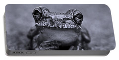 Pondering Frog Bw Portable Battery Charger by Laura Fasulo