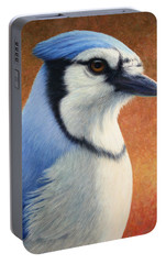 Portrait Of A Bluejay Portable Battery Charger by James W Johnson