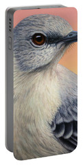 Portrait Of A Mockingbird Portable Battery Charger by James W Johnson