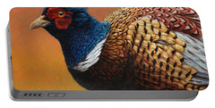 Portrait Of A Pheasant Portable Battery Charger by James W Johnson