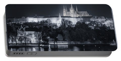 Prague Castle At Night Portable Battery Charger by Joan Carroll
