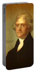 President Thomas Jefferson Portrait And Signature Portable Battery Charger by Design Turnpike
