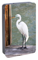 Pretty Great Egret Portable Battery Charger by Carol Groenen
