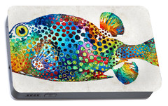 Puffer Fish Art - Puff Love - By Sharon Cummings Portable Battery Charger by Sharon Cummings