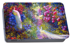 White Peacocks, Pure Bliss Portable Battery Charger by Jane Small