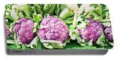 Purple Cauliflower Portable Battery Charger by Tom Gowanlock