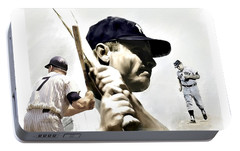 Quality Of Greatness Mickey Mantle Portable Battery Charger by Iconic Images Art Gallery David Pucciarelli