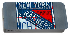 Rangers Original Six Hockey Team Retro Logo Vintage Recycled New York License Plate Art Portable Battery Charger by Design Turnpike