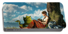 Reading About Dragons Portable Battery Charger by Daniel Eskridge