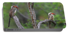 Red-billed Hornbills Portable Battery Charger by Bruce J Robinson