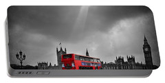 Red Bus Portable Battery Charger by Svetlana Sewell