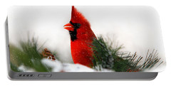 Red Cardinal Portable Battery Charger by Christina Rollo