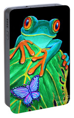 Red-eyed Tree Frog And Butterfly Portable Battery Charger by Nick Gustafson