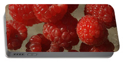 Red Raspberries Portable Battery Charger by Cindi Ressler