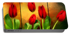 Red Tulips Triptych Portable Battery Charger by Lourry Legarde