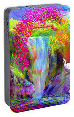 Waterfall And White Peacock, Redbud Falls Portable Battery Charger by Jane Small
