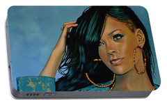 Rihanna Painting Portable Battery Charger by Paul Meijering