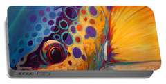 River Orchid - Brown Trout Portable Battery Charger by Savlen Art