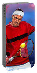 Roger Federer The Swiss Maestro Portable Battery Charger by Paul Meijering
