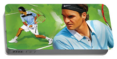 Roger Federer Artwork Portable Battery Charger by Sheraz A