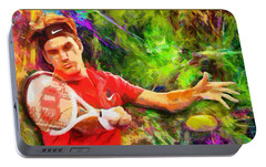 Roger Federer Portable Battery Charger by RochVanh