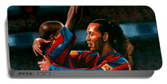 Ronaldinho And Eto'o Portable Battery Charger by Paul Meijering