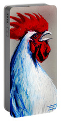 Rooster Head Portable Battery Charger by Mona Edulesco