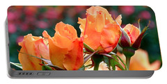 Rose Bunch Portable Battery Charger by Rona Black